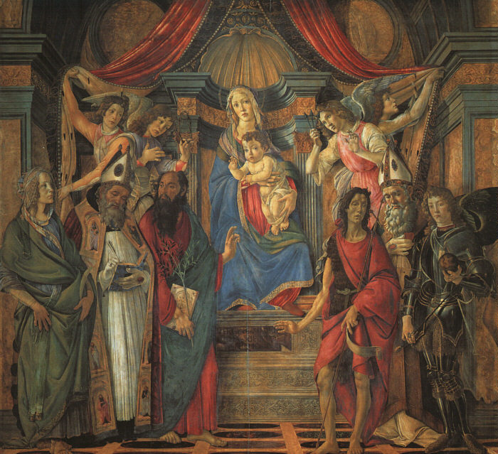 BOTTICELLI, Sandro San Barnaba Altarpiece (Madonna Enthroned with Saints) gfj