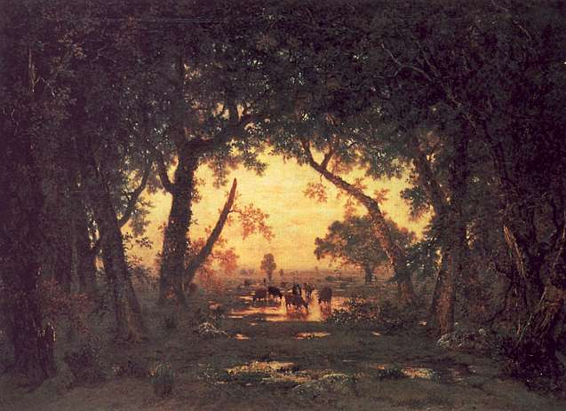 Theodore Rousseau The Forest of Fontainebleau, Morning