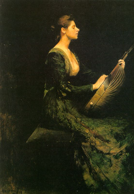 Thomas Wilmer Dewing Lady with a Lute
