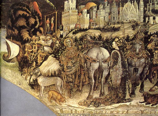 PISANELLO Saint George and the Princess of Trebizond (detail) sg