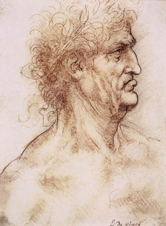 LEONARDO da Vinci Profile one with book leaves gekroten of old man