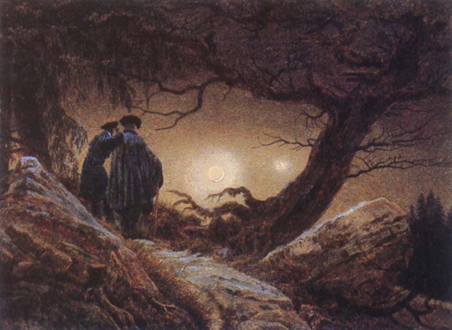 Caspar David Friedrich Two Men Looking at the Moon