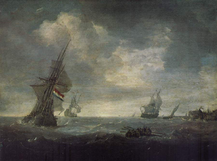 PORCELLIS, Jan Ships on the Heavy Seas