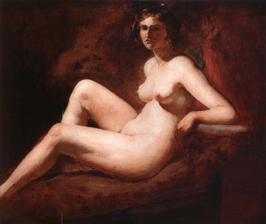 William Etty Reclining Femal Nude with Her Arm on a ledge