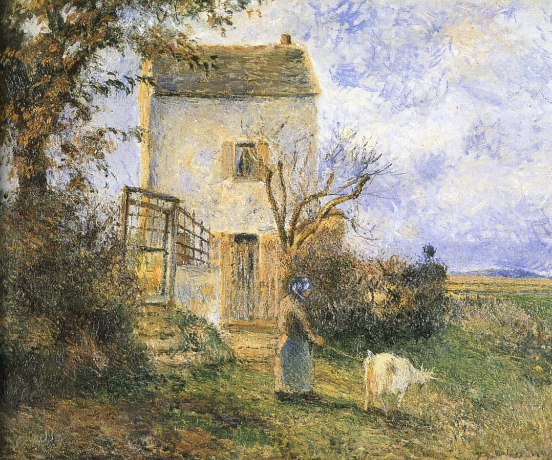 Camille Pissarro Farmhouse in front of women and sheep