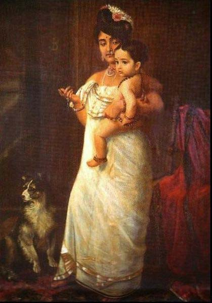 Raja Ravi Varma The Lady in the picture is Mahaprabha Thampuratti of Mavelikara,