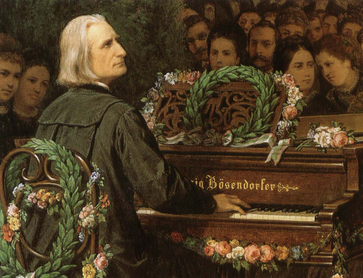 george bernard shaw franz liszt playing a piano built by ludwig bose.