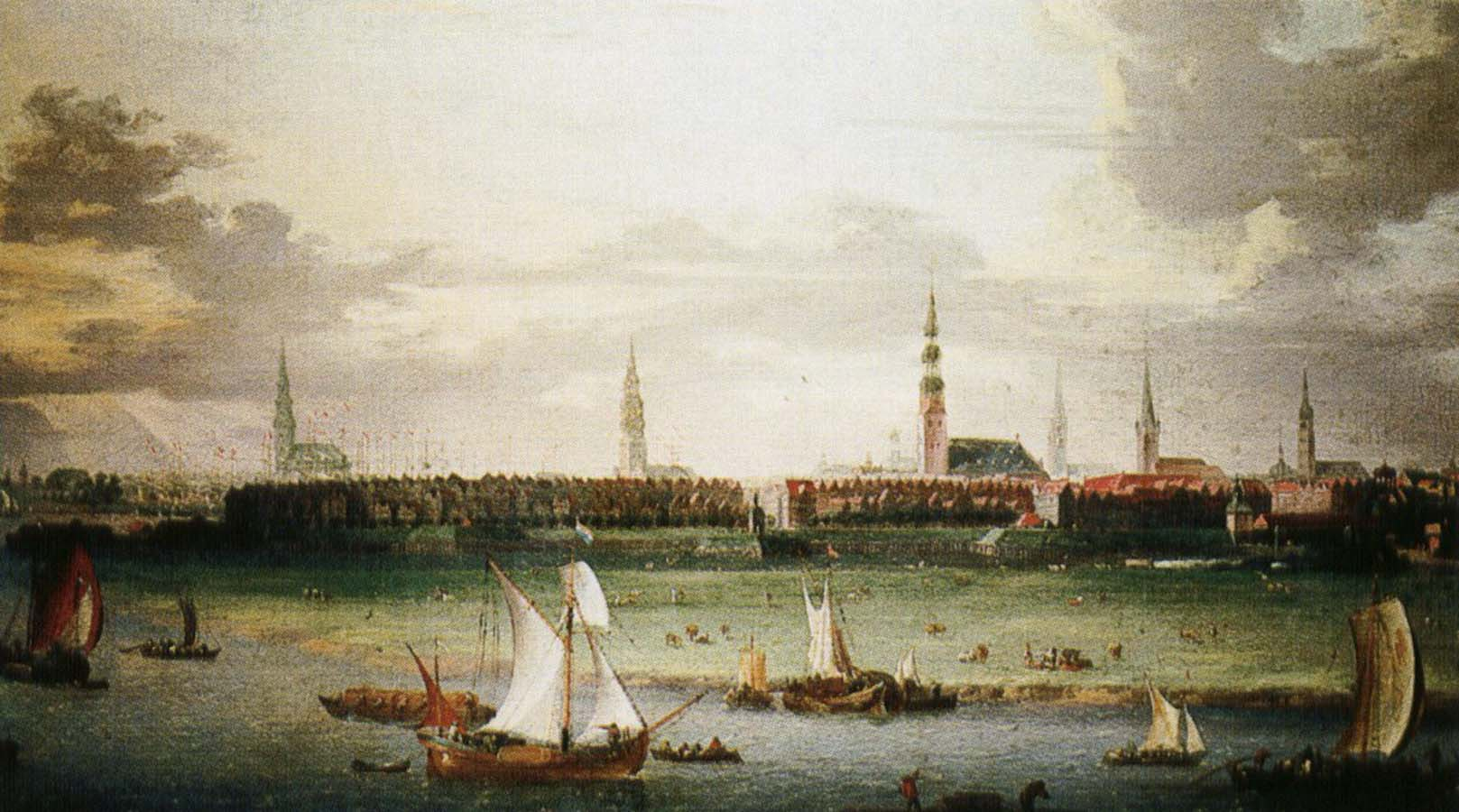wolfgang amadeus mozart Anonymous painting Hamburg, one of the most important Hanseatic port