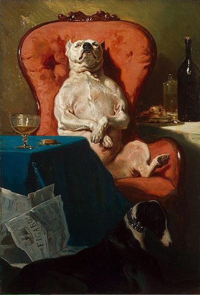 Alfred Dedreux Pug Dog in an Armchair