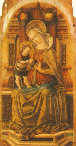 CRIVELLI, Carlo Virgin and Child Enthroned around