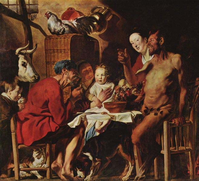 JORDAENS, Jacob Satyr and the Peasant