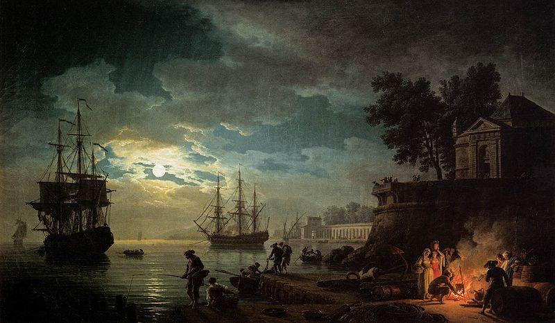Claude-joseph Vernet Seaport by Moonlight
