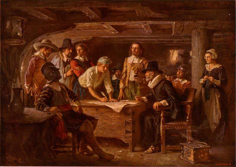 Jean Leon Gerome Ferris The Mayflower Compact, 1620