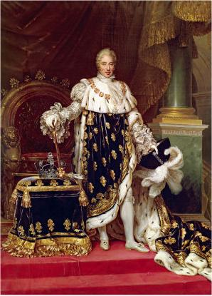 Jean Urbain Guerin Portrait of the King Charles X of France in his coronation robes