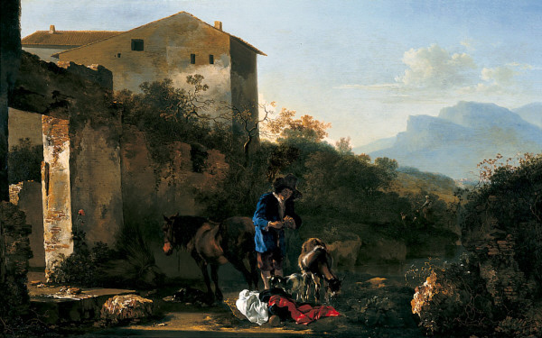 PYNACKER, Adam Landscape with Goatherd