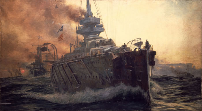 William Lionel Wyllie Oil Painting of First Battle Cruiser Squadron of Grand Fleet c. 1915.