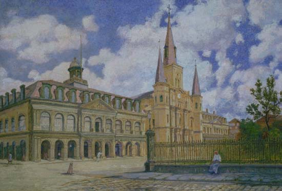 William Woodward Painting of view of Jackson Square French Quarter of New Orleans,