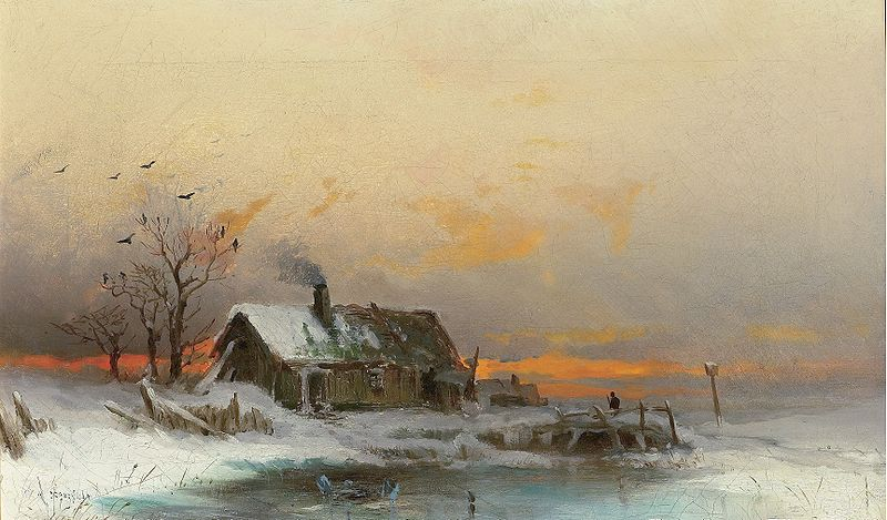 wilhelm von gegerfelt Winter picture with cabin at a river