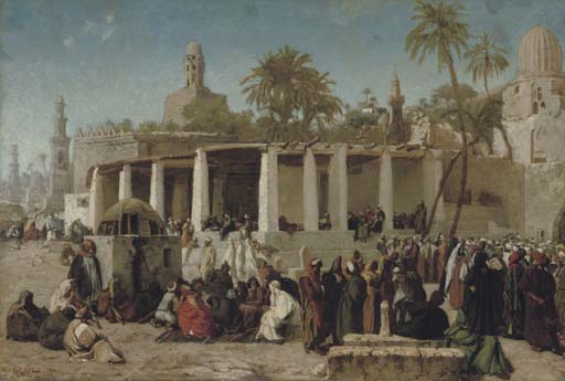 Wilhelm Gentz Crowds Gathering before the Tombs of the Caliphs