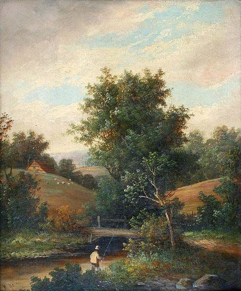 William Yates Fisherman on the River Bank