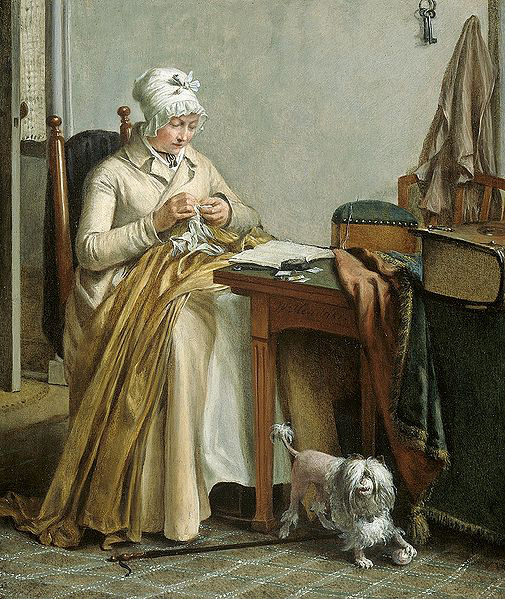 Wybrand Hendriks Interior with sewing woman.
