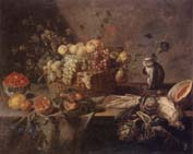 Adriaen Van Utrecht Still life of a basket of apples,grapes,plums,figs,gooseberries and redcurrants,together with a monkey,artichokes,celery,a melon,a pomegranate,a lemon