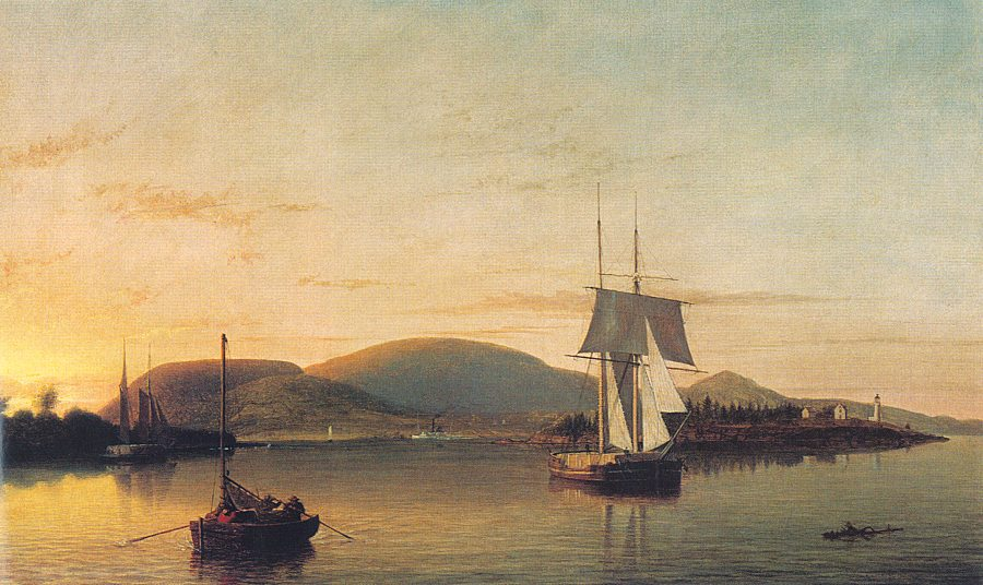 Fitz Hugh Lane Camden Mountains from the South Entrance to the Harbor