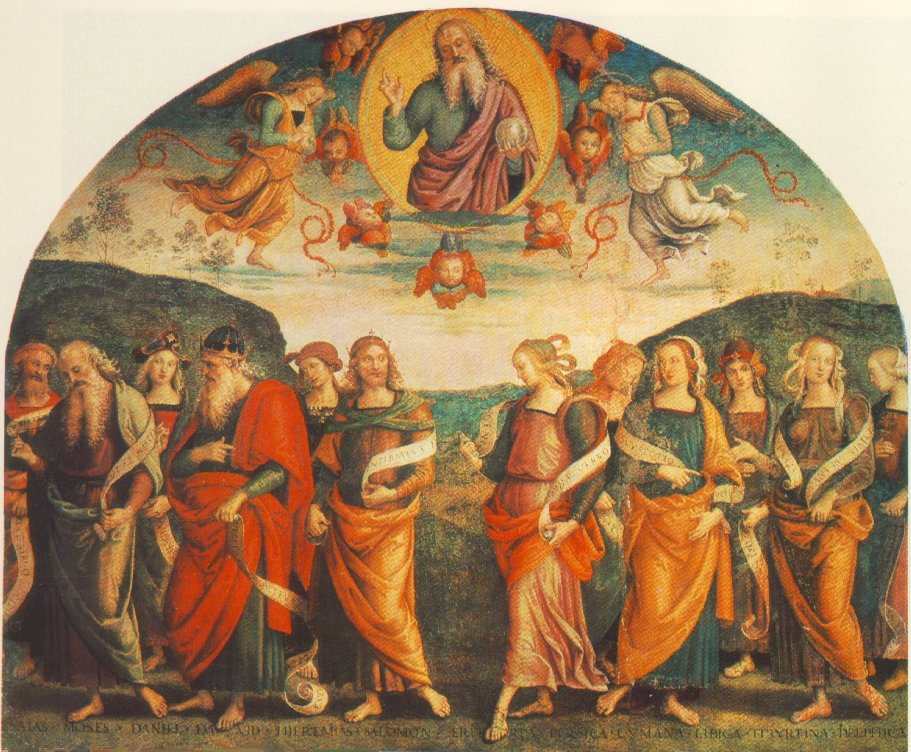 PERUGINO, Pietro The Almighty with Prophets and Sybils