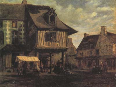 Theodore Rousseau Marketplace in Normandy (san04)