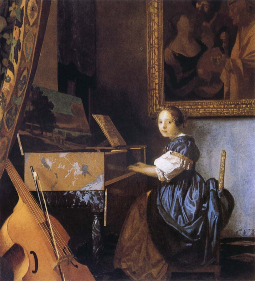 Jan Vermeer Young Woman Seated at a Virginal