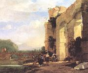 ASSELYN, Jan Italian Landscape with the Ruins of a Roman Bridge and Aqueduct cc oil painting reproduction