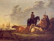 Aelbert Cuyp Cattle with Horseman and Peasants oil painting artist