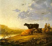 Young Herdsman with Cows by a River