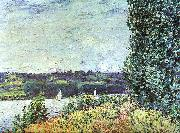 Alfred Sisley The Banks of the Seine : Wind Blowing oil painting artist