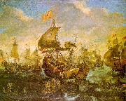 Andries van Eertvelt The Battle of the Spanish Fleet with Dutch Ships in May 1573 During the Siege of Haarlem oil painting reproduction