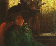 Artur Timoteo da Costa Lady in Green oil painting reproduction