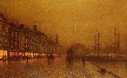 Atkinson Grimshaw Greenock Dock oil painting artist