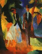 People by a Blue Lake, August Macke