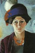 Portrait of the Artist's Wife Elisabeth with a Hat, August Macke