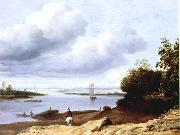 BORSSUM, Anthonie van Extensive River View with a Horseman dgh oil painting reproduction