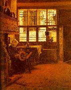 Interior with a Woman at a Spinning Wheel fdgd