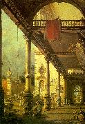 Capriccio, A Colonnade opening onto the Courtyard of a Palace, Canaletto