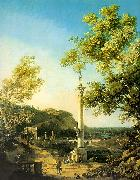 Capriccio-River Landscape with a Column, a Ruined Roman Arch and Reminiscences of England, Canaletto