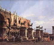 Capriccio: The Horses of San Marco in the Piazzetta, Canaletto