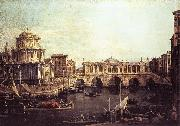 Capriccio: The Grand Canal, with an Imaginary Rialto Bridge and Other Buildings fg, Canaletto