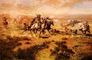 The Attack on the Wagon Train, Charles M Russell