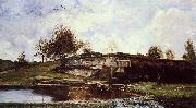 Charles-Francois Daubigny Sluice in the Optevoz Valley oil painting artist