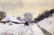 The Cart Snow-Covered Road at Honfleur, Claude Monet