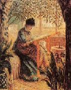 Camille Monet Embroidering, Claude Monet