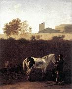 DUJARDIN, Karel Italian Landscape with Herdsman and a Piebald Horse sg oil painting reproduction